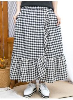 2015-1194 -格格-RUFFLE邊 X 兩側袋 , 橡根腰 X 格仔PATTERN , 薄絨料半截裙 (韓國) 0