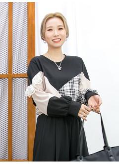 2011-1634 - 隨意・優美 -單邊手袖LACE X 格仔恤衫料 X 拼淨色雙面料TOP (韓國) 0