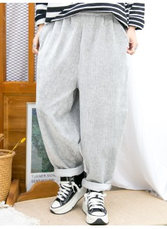2015-1190 -運動風-兩側袋 X 前腰打摺 X 後腰橡根 , 坑紋燈芯絨料 X 少低浪褲 (韓國) 0