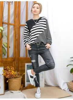 2011-1632 -型格・麻花-領位麻花PATTERN冷料 X 粗 , 幼橫間薄衛衣料TOP (韓國) 0