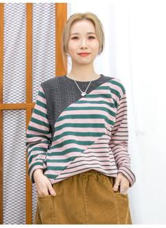 2011-1632A - 型格・麻花 -領位麻花PATTERN冷料 X 粗 , 幼橫間薄衛衣料TOP (韓國)
