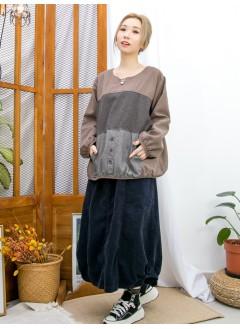 2011-1636A- 泡泡・日系 - 直紋恤衫料前袋位 X 點點PATTERN 拼 淨色麻棉料TOP (韓國)