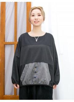 2011-1636 -泡泡・日系-直紋恤衫料前袋位 X 點點PATTERN 拼 淨色麻棉料TOP (韓國) 0