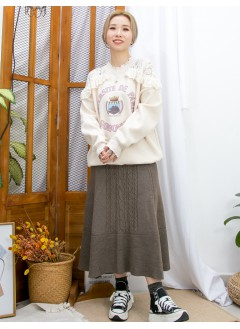 2011-1637A- 氣質・衛衣 - 領邊 , 膊位通花LACE X 英文字PRINT , 抓毛衛衣料TOP (韓國) 0