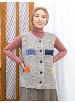 2013-1068 - 輕鬆・悠閒 -全開胸扣鈕 X 混色點點 , 冷料背心外套 (韓國)0