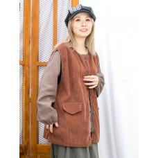 2013-1062A - 超寬鬆 -全開胸扣鈕 X 兩側袋 , 燈芯絨料背心外套 (韓國) 0