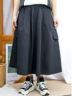 2015-1191- 百搭款 - 兩側袋 X 橡根腰 , 腰位打摺 X 扯布料 , A-LINE形半截裙 (韓國) 0