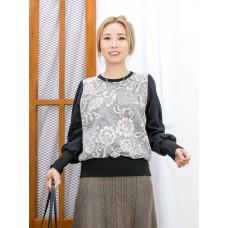 2011-1642 - 溫文・氣質 -下擺, 袖口羅紋料 X 通花LACE雙面料 拼 淨色COTTON料TOP (韓國)  0