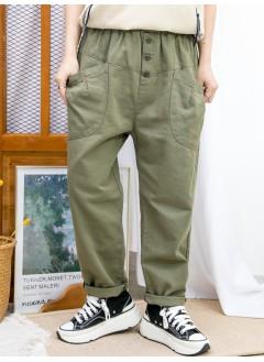2015-1202-日系・男友褲- 前兩袋 X 橡根腰,扯布料 X少低浪褲 (韓國)  0
