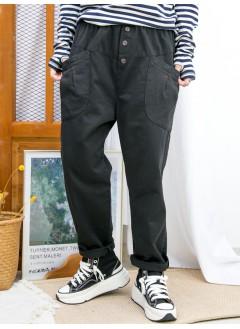 2015-1202A - 日系・男友褲 -前兩袋 X 橡根腰,扯布料 X少低浪褲 (韓國)  0