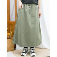 2015-1206A - 日系・百搭 -兩側袋 X 橡根腰 , 扯布料半截裙 (韓國) 0