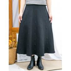 2015-1209-低調・氣質- 波點 , 直紋PATTERN X 橡根腰 , 冷料半截裙 (韓國)  0