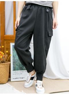 2015-1212-氣質・男友褲- 腳位羅紋料 X 釘鈕 , 兩側袋 X 橡根腰 , 絨絨料褲 (韓國)  -