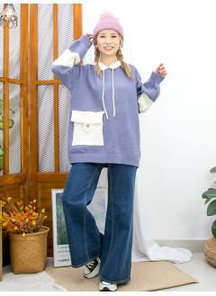 2011-1706 - 霧灰藍 -前單邊袋位 X 拼色 , 有帽 X 毛毛冷料TOP (韓國)  0