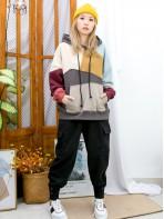 2011-1718- 隨意美 - 前袋位 X 不規則拼色 , 有帽 X 衛衣料TOP (韓國)  0