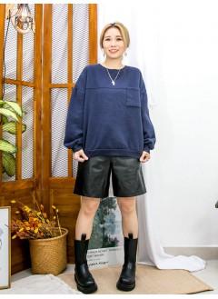 2011-1739 - 寬鬆・日系 -胸位小袋仔 X 抓毛衛衣料TOP(韓國)0