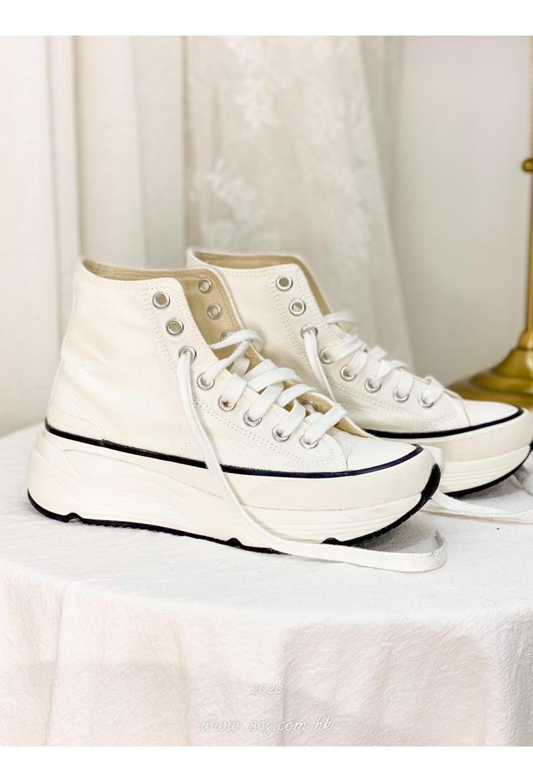 2017-1002 - 韓國自家品牌 -扯布料 X 高筒 , 綁帶 x 厚底波鞋 (韓國)