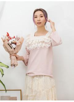 2011-1072A- 宮廷・氣質 - 領位DOUBLE LAYER通花LACE X 刺繡 , 方領 X COTTON料TOP (韓國)