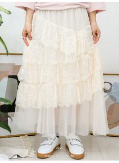 2015-1029A- 層層・蕾絲 - 層層波浪邊通花LACE X RUFFLE , DOUBLE LAYER網布 X 橡根腰 , 半截裙 (有厘布) (韓國)-