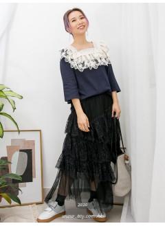 2011-1072 -宮廷・lace-領位DOUBLE LAYER通花LACE X 刺繡 , 方領 X COTTON料TOP (韓國)0