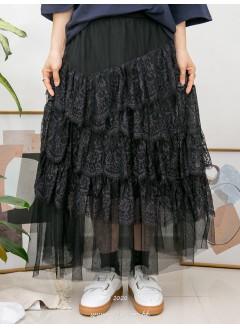 2015-1029-layer・lace- 層層波浪邊通花LACE X RUFFLE , DOUBLE LAYER網布 X 橡根腰 , 半截裙 (有厘布) (韓國)-