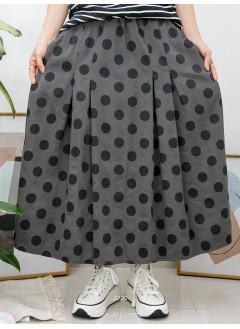 2015-1023- 最愛・日點點 - 兩側袋 X 橡根腰 , 腰位打摺 X 波點PATTERN , 扯布料半截裙 (韓國)