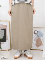2015-1022A - 悠閒・自在 -兩側袋 X 橡根腰束繩 , 後幅手擺開叉 X 薄衛衣料半截裙 (韓國)0