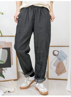 2015-1024-特式・男友褲- 兩側袋 X 橡根腰 , 腳位小開叉 X 薄牛仔料, 直腳褲 (韓國)