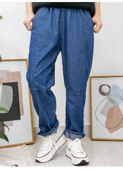 2015-1024A - 特式・男友褲 -兩側袋 X 橡根腰 , 腳位小開叉 X 薄牛仔料, 直腳褲 (韓國)