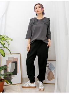 2011-1055-可愛・日系蕾絲- 反領位通花棉LACE X 刺繡 , COTTON料TOP (韓國)