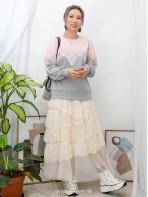 2011-1081- 灰色 & 粉色 - 胸位 ,手袖波浪邊通花LACE X 拼色雙面料TOP (韓國)0