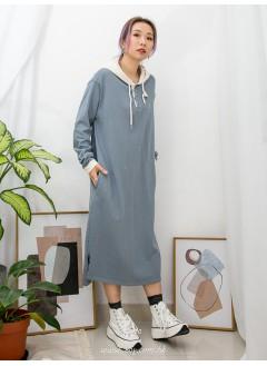2016-1011A - 舒適・裙子 -領位開胸扣鈕 X 下擺兩旁開叉 , 兩側袋 X 帽位,袖口拼色 , 薄衛衣料OPS (韓國)0