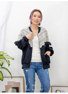 2013-1011-girly·lace- 胸位,手袖RUFFLE邊 X 通花棉LACE , 前兩袋 X 全開胸拉鏈 , 雪紡料外套 (韓國)0
