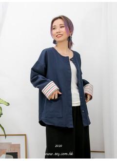 2013-1008-百搭款- 前兩袋 X 全開胸扣鈕 , 反袖口位橫間PATTERN X 淨色扯布料外套 (韓國)-