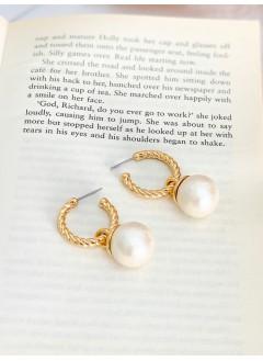 201-1003 - 復古・小香風 -扭紋圈圈 X 珍珠 , 垂擺耳環 (韓國)