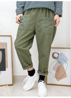 2015-1027A - lace・男友褲 -前兩袋 X 通通刺繡 , 橡根腰 X 扯布料 , 少低浪褲 (韓國)