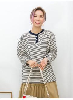 2011-1085-日系・橫間- 領位開胸扣鈕 X 羅紋料 , 橫間COTTON料TOP (韓國)