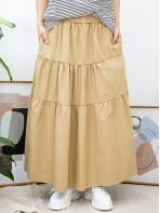 2015-1032A- 層次感 - 層層打摺 X 橡根腰 , 兩側袋 X 扯布料半截裙 (韓國)-