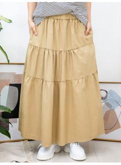 2015-1032A- 層次感 - 層層打摺 X 橡根腰 , 兩側袋 X 扯布料半截裙 (韓國)