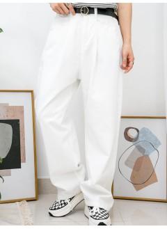 2015-1031A - 型格・闊褲 -前兩袋 X 後腰橡根 X 前腰打摺 , 扯布料直腳褲 (韓國)