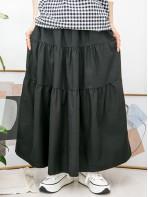 2015-1032-層次感- 層層打摺 X 橡根腰 , 兩側袋 X 扯布料半截裙 (韓國)-