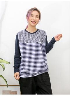 2011-1071-日系・格仔- 胸位小袋仔 X 前幅大 , 細格仔PATTERN恤衫料 X 淨色COTTON料TOP (韓國)