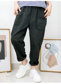 2015-1027 -lace・男友褲-前兩袋 X 通通刺繡 , 橡根腰 X 扯布料 , 少低浪褲 (韓國)