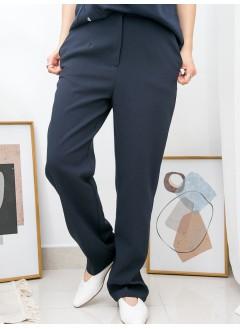 2015-1033 - 西裝・控 -兩側袋 X 滑滑料 , 直腳褲 (韓國)