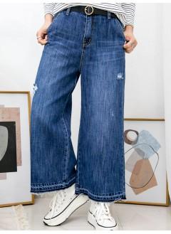2015-1019- 復古・闊牛 - 兩側袋 X 後腰橡根 , 腳位SOSO X 爛爛 , 牛仔料闊褲 (韓國)