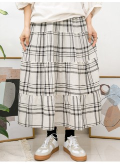 2015-1034A - 隨意・格仔 -層層打摺 X 格仔PATTERN , 橡根腰 X 麻棉料半截裙 (韓國)