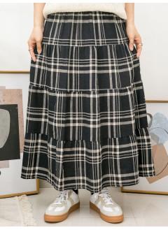 2015-1034-隨意・格仔- 層層打摺 X 格仔PATTERN , 橡根腰 X 麻棉料半截裙 (韓國)