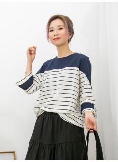 2011-1086-溫文・氣質- 袖口小開叉 X DOUBLE LAYER , 淨色 X 橫間滑滑料TOP (韓國)