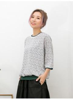 2011-1065- 輕鬆・隨意 -領位 , 袖口拼色羅紋料 X 下擺薄羅紋料 , 不規則PATTERN X 滑滑料TOP (韓國)