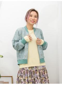 2013-1009A- lace・Jacket -領位 , 袖口 , 下擺羅紋料 X 釘透明珠片 X 通花LACE , 全開胸拉鏈外套 (韓國)